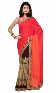 Women's Clothing - De Marca Pink-Brown Colour Faux Georgette Half n Half Saree (Product Code - TSN87083)