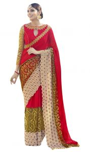 De Marca Red Colour Faux Georgette Saree (product Code - Tsn96055)