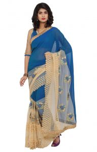 De Marca Blue-beige Colour Faux Georgette Saree (product Code - Tsn96059)