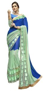 De Marca Blue-green Colour Faux Georgette Saree (product Code - Tsn96082)
