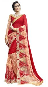 De Marca Red Colour Chiffon Saree (product Code - Tsn96088)