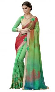 De Marca Green Colour Chiffon Saree (product Code - Tsn97049)