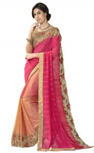 De Marca Pink-peach Colour Faux Georgette Half N Half Saree (product Code - Tsn97050)