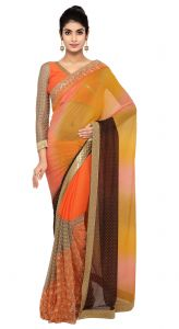 De Marca Orange-yellow Colour Chiffon Saree (product Code - Tsn97052)