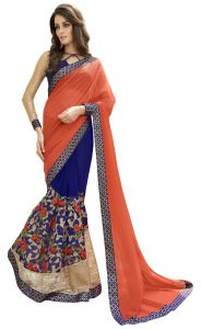 De Marca Blue-orange Colour Faux Georgette Half N Half Saree (product Code - Tsn97064)