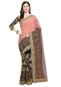 Demarca Black Peach Faux Georgette Half & Half Saree (code - Tsnar3804)