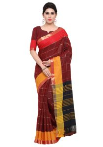 Demarca Maroon Art Silk Blended Cotton Saree (code - Tsnast1501)