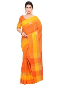Demarca Orange Art Silk Blended Cotton Saree (code - Tsnast1503)