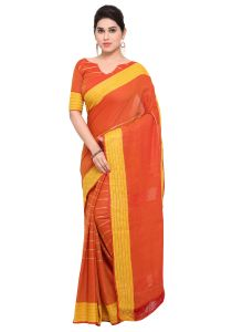 Demarca Orange Art Silk Blended Cotton Saree (code - Tsnast1508)