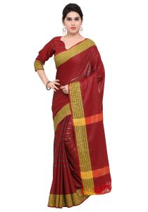 Demarca Maroon Art Silk Blended Cotton Saree (code - Tsnat1404)