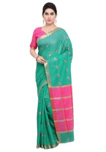 Demarca Green Pink Art Silk Blended Cotton Saree (code - Tsnat1405)