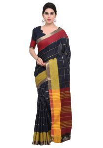 Demarca Blue Art Silk Blended Cotton Saree (code - Tsnat1407)