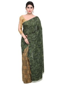 Demarca Green Brown Faux Georgette Saree (code - Tsnay15122)