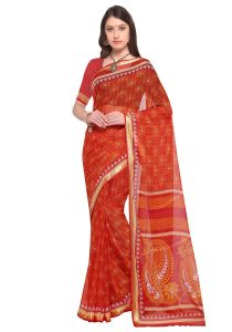 Demarca Red Faux Georgette Saree (code - Tsnbl64026)
