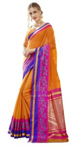 Demarca Orange Blended Cotton Saree (code - Tsncb4405)