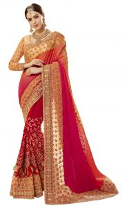 De Marca Red Colour Faux Georgette-satin-net Saree (product Code - Tsncd1109)