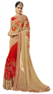De Marca Red Colour Faux Georgette Saree (product Code - Tsncd1110)