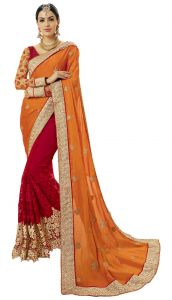 De Marca Red-orange Colour Satin-faux Geoegette-net Half N Half Saree (product Code - Tsncd1111)