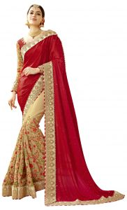 De Marca Beige-red Colour Faux Georgette-art Silk Half N Half Saree (product Code - Tsncd1112)