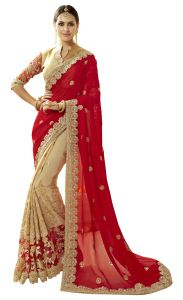 Women's Clothing - De Marca Beige-Red Colour Faux Georgette-Net Half n Half Saree (Product Code - TSNCD1116)