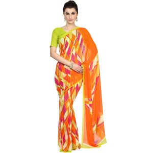 De Marca Orange Faux Georgette Saree (product Code - Tsncks12776a)