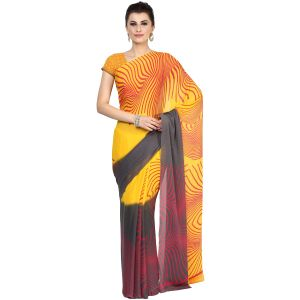 De Marca Yellow Faux Georgette Saree (product Code - Tsncsm12778b)