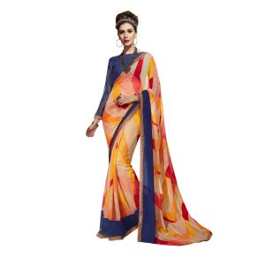 De Marca Multicolor Georgette Saree - ( Code - Tsnew14711 )