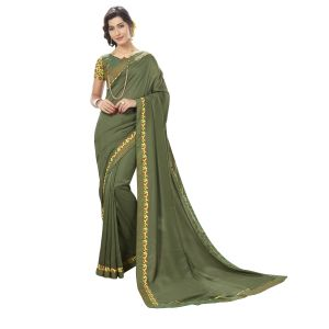 De Marca Green Chanderi Silk Saree - ( Code - Tsngf75106 )