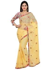 Demarca Yellow Chiffon Saree (code - Tsnhrm2504)