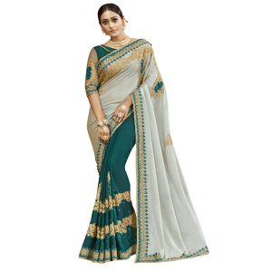 De Marca Off White-green Chanderi Silk Saree - ( Code - Tsnjb13402 )
