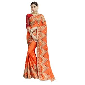 De Marca Orange Chanderi Silk Saree - ( Code - Tsnjb13405 )