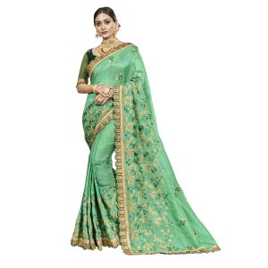 De Marca Green Chanderi Silk Saree - ( Code - Tsnjb13406 )