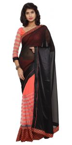 De Marca Peach-black Colour Satin Half N Half Saree (product Code - Tsnjw97041)