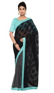 De Marca Black Colour Faux Georgette Saree (product Code - Tsnka95034)