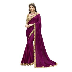 De Marca Purple Chanderi Silk Saree - ( Code - Tsnmhr15801 )