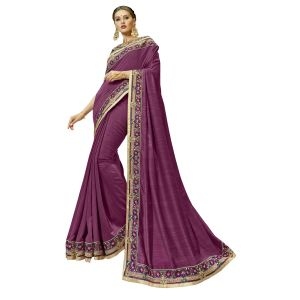 Women's Clothing - De Marca Purple Satin Saree - ( Code - TSNND12208 )