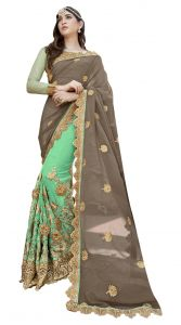De Marca Green-brown Colour Faux Georgette Half N Half Saree (product Code - Tsnrc1901)