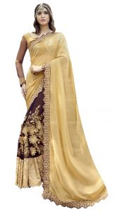 De Marca Brown-beige Colour Faux Georgette Half N Half Saree (product Code - Tsnrc1903)