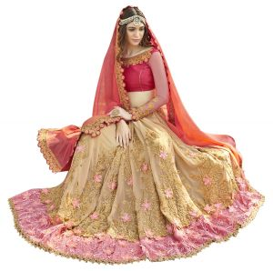 De Marca Beige-orange Colour Faux Georgette Half N Half Saree (product Code - Tsnrc1906)