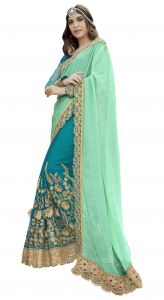De Marca Green Colour Faux Georgette Half N Half Saree (product Code - Tsnrc1907)