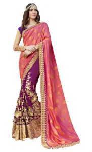 De Marca Purple-pink Colour Faux Georgette-art Silk Half N Half Saree (product Code - Tsnrc1908)