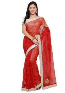 Demarca Red Super Net Saree (code - Tsnrv3304)