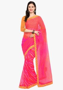 Demarca Pink Super Net Saree (code - Tsnrv3306)