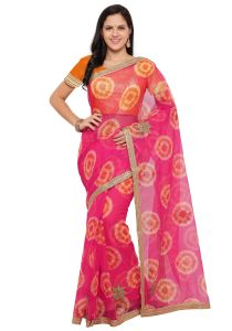 Demarca Pink Super Net Saree (code - Tsnrv3311)