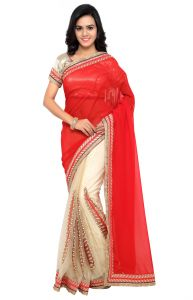 De Marca Red-beige Colour Faux Georgette Half N Half Saree (product Code - Tsnsa709)