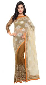 De Marca Brown-beige Colour Net Half N Half Saree (product Code - Tsnsa712)
