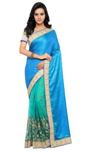 De Marca Sky Blue-green Colour Art Silk Half N Half Saree (product Code - Tsnsa714)