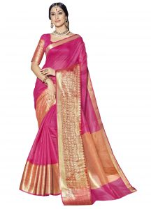 Demarca Pink Blended Cotton Saree (code - Tsnsm4503)