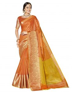 Demarca Orange Blended Cotton Saree (code - Tsnsm4505)