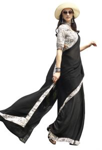 Demarca Black Chiffon Saree (code - Tsnsn1031)